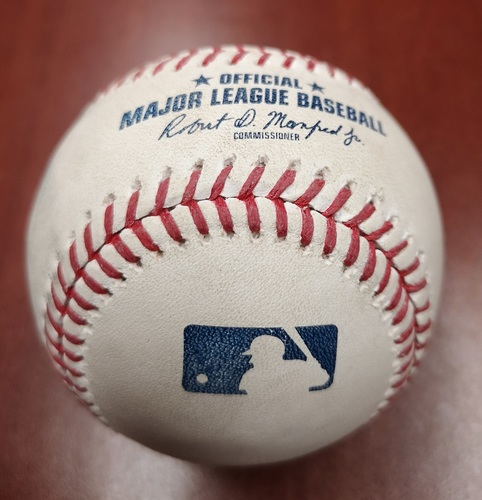 Photo of Authenticated Game Used Baseball - Double by Justin Smoak against Marcus Walden (May 22, 19 vs BOS). Bottom 10