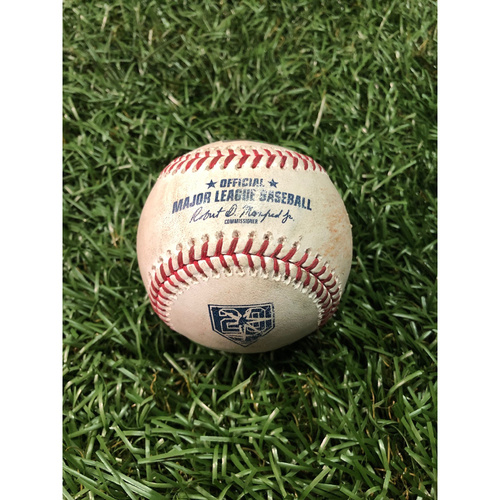 Photo of 20th Anniversary Game Used Baseball: Whit Merrifield single & Alex Gordon RBI single off Tyler Glasnow - August 23, 2018 v KC