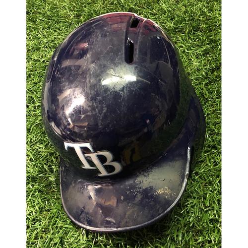 2019 Game Used Helmet (size 7 3/4): Travis d'Arnaud (4) HOME RUNS - July 6 (v NYY), July 23 (v BOS), August 31 (v CLE) & September 3 (v BAL)