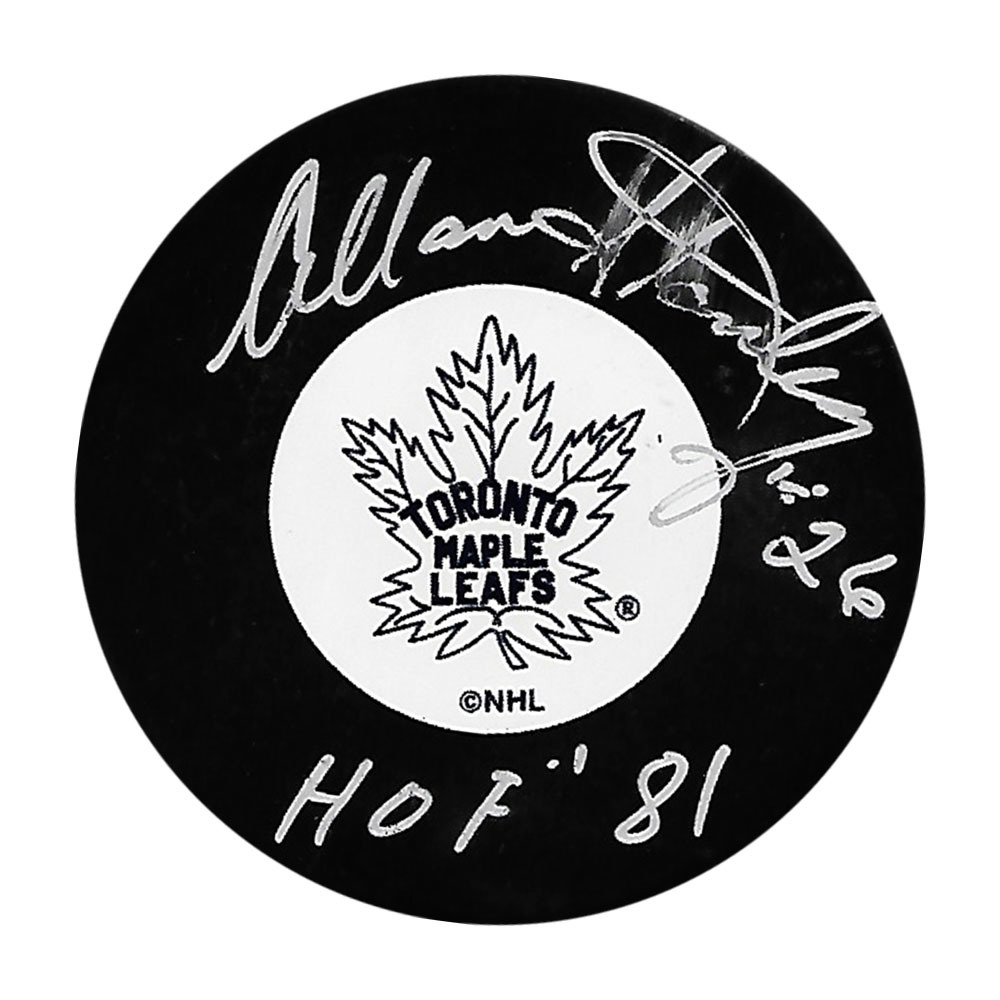 Allan Stanley Autographed Toronto Maple Leafs Puck w/HOF 81 Inscription