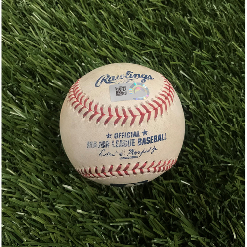 Photo of Game-Used Baseball from May 24, 2019 - 20th Win of 2019 Season - Victor Robles Double off Adam Conley