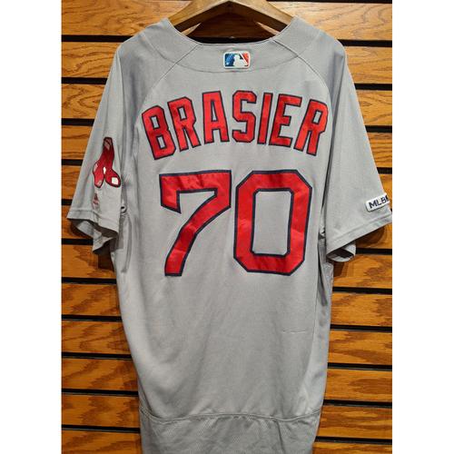Photo of Ryan Brasier #70 Game Used Road Gray Jersey