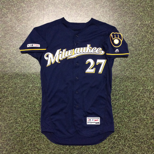 Photo of Zach Davies 2019 Game-Used Navy Ball & Glove Jersey (INCLUDES FREE SHIPPING & FREE 2020 GAME-READY 50TH ANNIVERSARY BASEBALL)