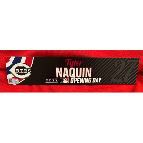 Photo of Tyler Naquin -- 2021 Opening Day Locker Tag -- Team-Issued -- Cardinals vs. Reds on 4/1/21