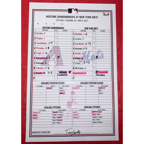 Photo of 2021 Game-Used Mother's Day Line Up Card Autographed by Torey Lovullo - 5/9/2021 - ARI @ NYM, R. Smith vs. deGrom