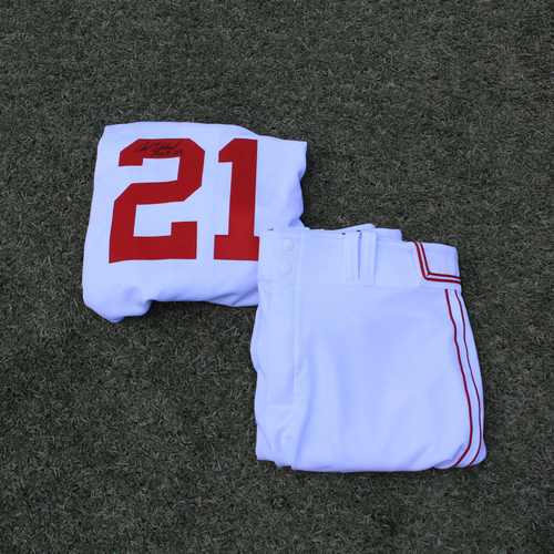 Photo of Game-Used & Autographed Monarchs Jersey & Game-Used Pants: Cal Eldred #21 (DET @ KC 5/23/21) - Size 52