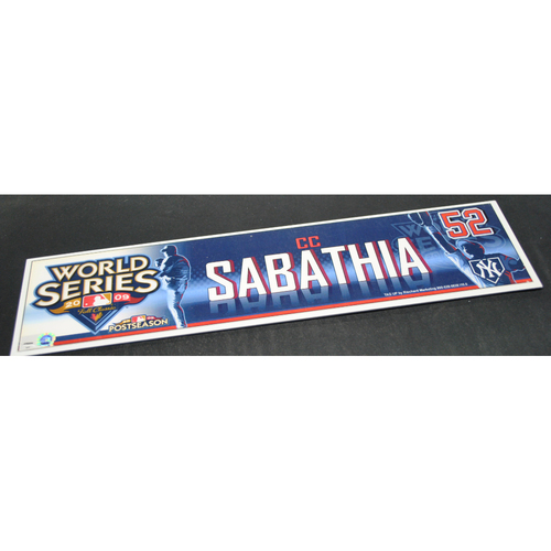 Photo of Game-Used Locker Name Plate - 2009 World Series Game 5 New York Yankees vs. Philadelphia Phillies - C.C. Sabathia (New York Yankees)