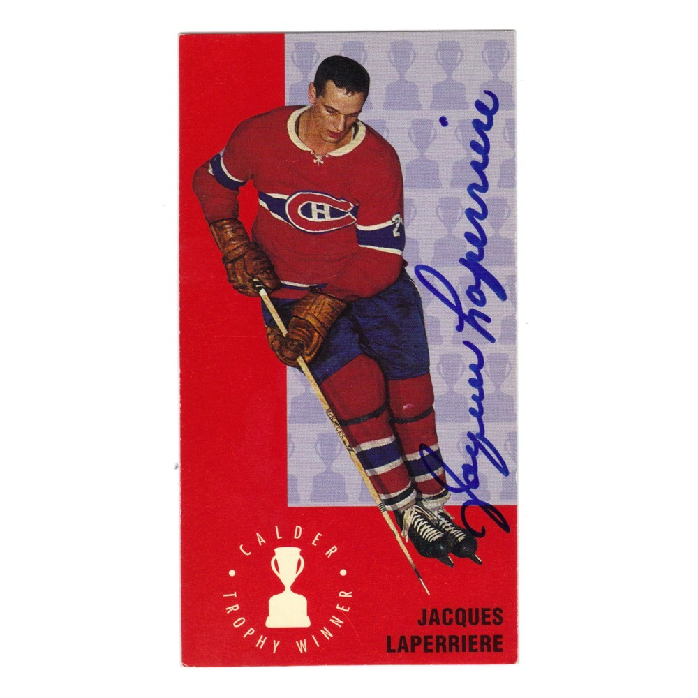 Jacques Laperrier Autographed Montreal Canadians Tall Boy Hockey Card