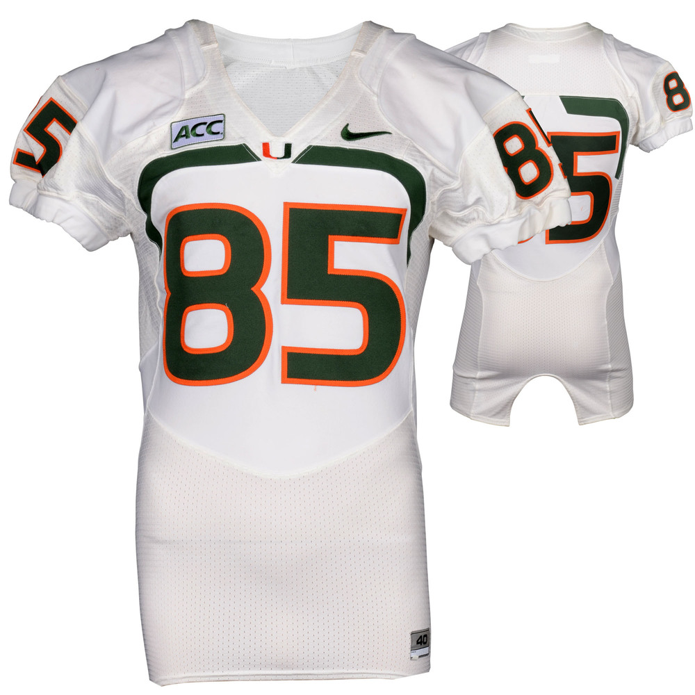 Miami Hurricanes Game-Used 2007 - 2013 Nike White Football Jersey #85