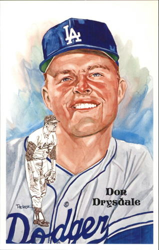 Photo of 1980-02 Perez-Steele Hall of Fame Postcards #186 Don Drysdale  -- HOF Class of 1984
