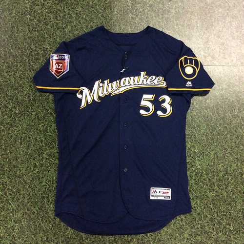 Photo of Brandon Woodruff 2018 Team-Issued Spring Training Jersey
