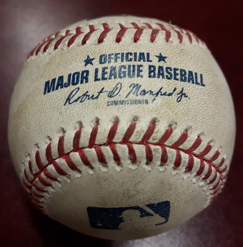 Photo of Authenticated Game Used Baseball - Kevin Pillar RBI Triple vs Mike Minor on April 27, 2018 (Bottom 3)