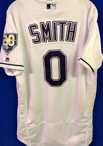 Photo of 20th Anniversary Game Used Devil Rays Jersey: Mallex Smith (7H, 3R, 2RBI, SB) - March 31 v BOS, June 9 v SEA, June 23 v NYY and September 8 v BAL