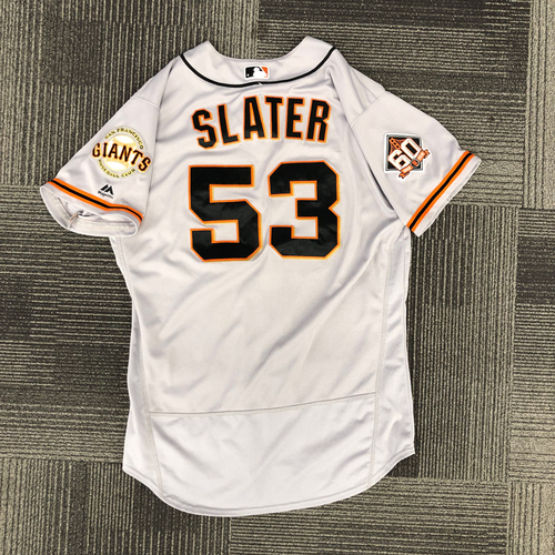 Photo of 2018 Holiday Deal! - 2018 Game Used Road Jersey worn by #53 Austin Slater on 9/21 - 1-3, 1 RBI, 1 BB - Size 46
