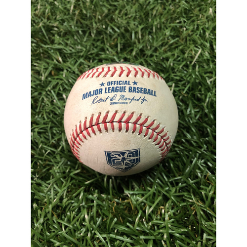 Photo of 20th Anniversary Game Used Baseball: Edwin Encarnacion single off Tyler Glasnow - September 11, 2018 v CLE