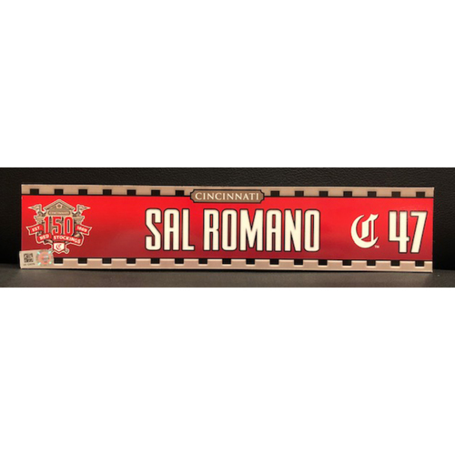 Photo of Sal Romano -- Game-Used 2019 Regular Season Locker Tag