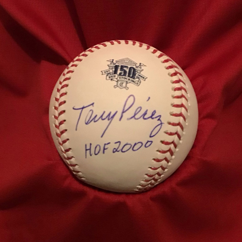Photo of Tony Perez Autographed 150 Baseball with Inscription