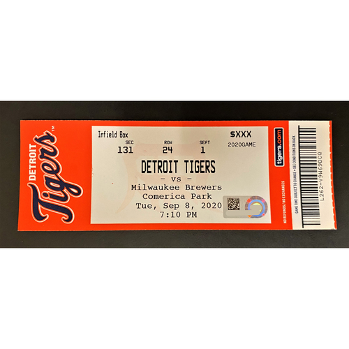 Photo of 9/08/20 - Detroit Tigers vs Milwaukee Brewers Comerica Park Home Game #20 Limited Edition Full Game Ticket - S. Alcantara Home Debut & Cabrera 1,000 Tigers Runs Milestone Game (MLB AUTHENTICATED)