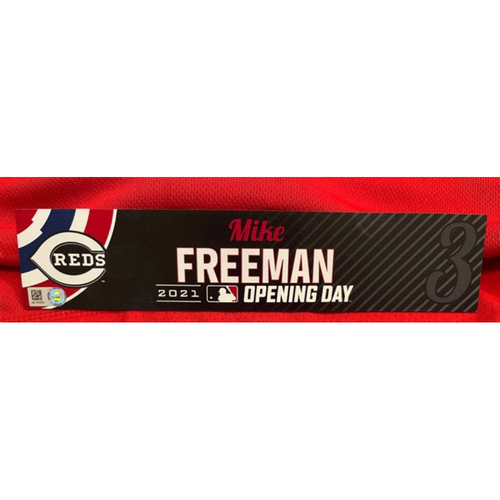Photo of Mike Freeman -- 2021 Opening Day Locker Tag -- Team-Issued -- Cardinals vs. Reds on 4/1/21