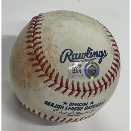 Photo of Game Used Baseball - Giancarlo Stanton Singles against pitcher Triston McKenzie - 4/25/2021 - Yankees at Indians