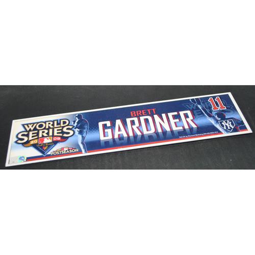 Photo of Game-Used Locker Name Plate - 2009 World Series Game 5 New York Yankees vs. Philadelphia Phillies - Brett Gardner (New York Yankees)