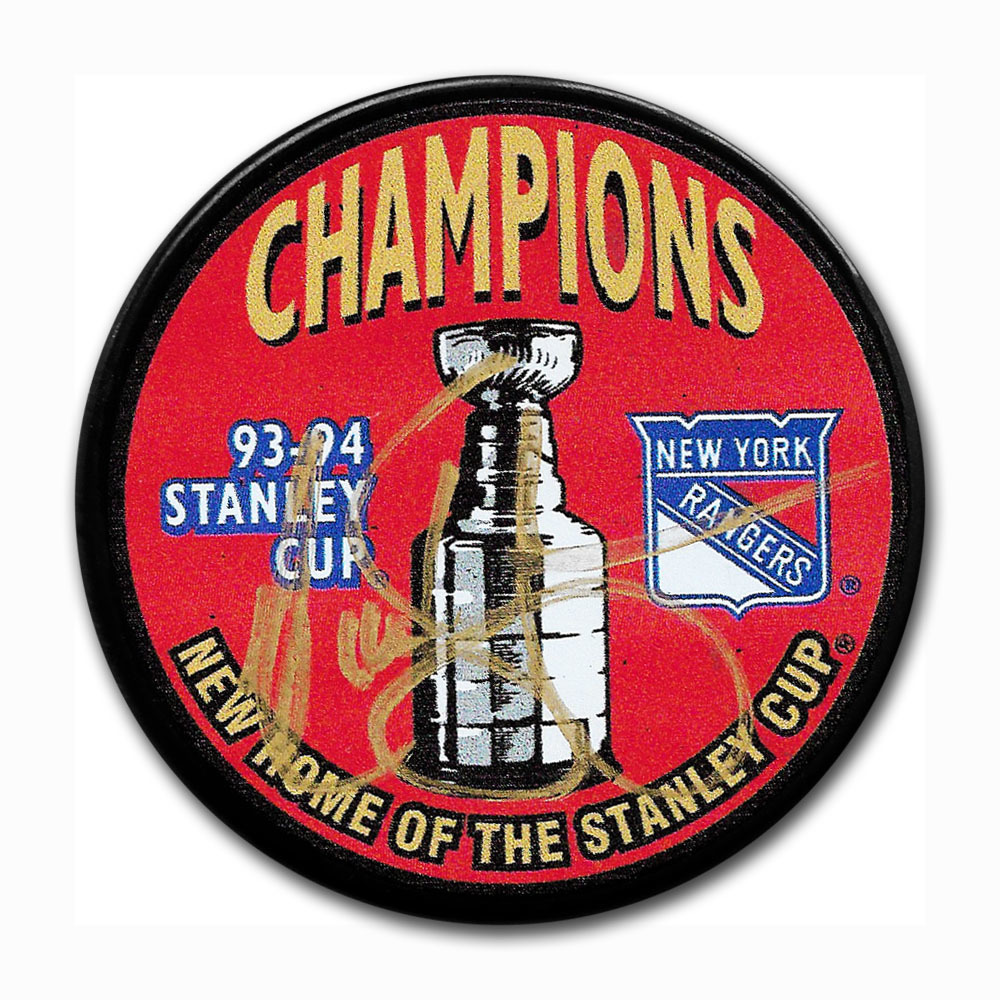 Nick Kypreos Autographed 1994 New York Rangers Stanley Cup Champions Puck w/94 CUP Inscription