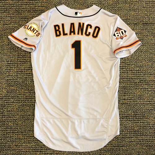 Photo of San Francisco Giants - 2018 Opening Day Game-Used Road Jersey - Worn by #1 Gregor Blanco on 3/29/2018 vs. the Los Angeles Dodgers - Jersey Size 44