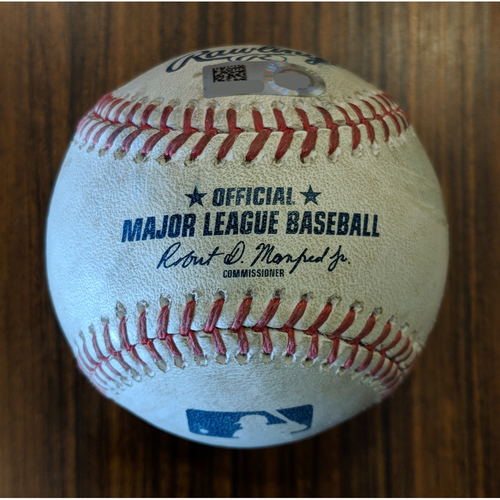 Photo of Game-Used Chris Davis RBI Single, Adam Jones Scores, off of Corey Kluber in the Bottom of the 4th Inning on April 22, 2018 vs Cleveland.