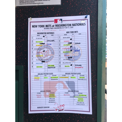 Photo of Game-Used Dugout Lineup Card from Nationals Record 25-Run Game