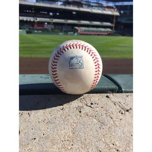 Photo of Colorado Rockies Game-Used Baseball - German Marquez v. Rhys Hoskins - Ball - September 26, 2018