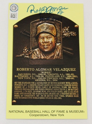 Photo of Autographed Post Card - National Baseball Hall of Fame Roberto Alomar Post Card (3.5 inches by 5.5 inches)