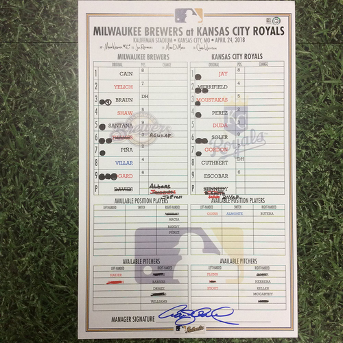 MIL @ KC 04/24/18 Game-Used Lineup Card - Shaw 3-Run HR; Cain Homers in Return to KC (Crew Extends Win Steak to Seven)