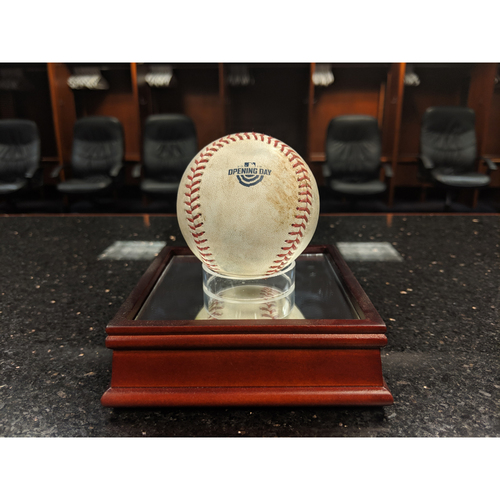 Photo of Colorado Rockies Game-Used Opening Day Baseball - Anderson v. Seager - RBI Single to Desmond - April 5, 2019