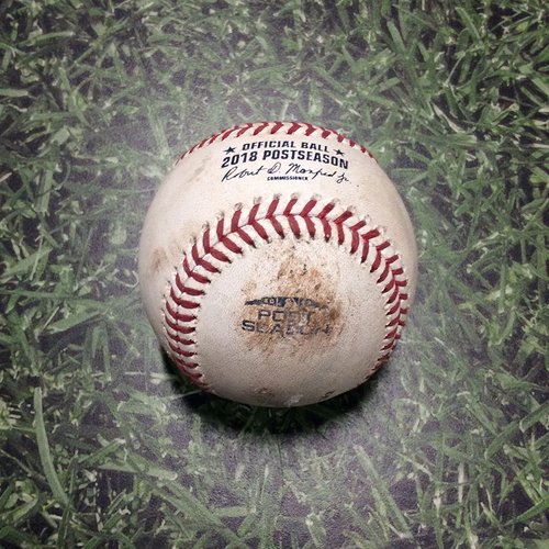 Game-Used Baseball NLCS Game 1 LAD@MIL 10/12/18 - Brandon Woodruff - Manny Machado: Strikeout