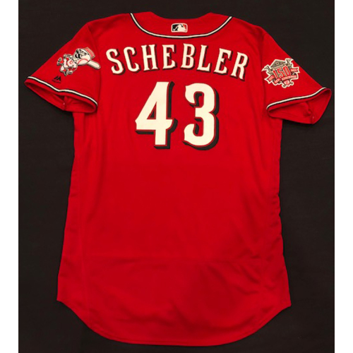 "Photo of Scott Schebler -- Team-Issued ""Los Rojos"" Jersey -- D-backs vs. Reds on 9/6/19 -- Jersey Size 46"