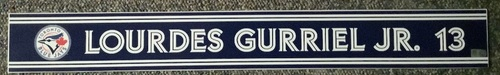 Photo of Authenticated Game Used Locker Name Plate - #13 Lourdes Gurriel Jr. (Sept 24, 18: 0-for-1)