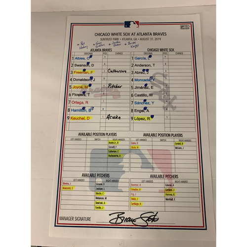 Photo of August 31, 2019 Game Used Dugout Lineup Card - Donaldson HR - White Sox at Braves