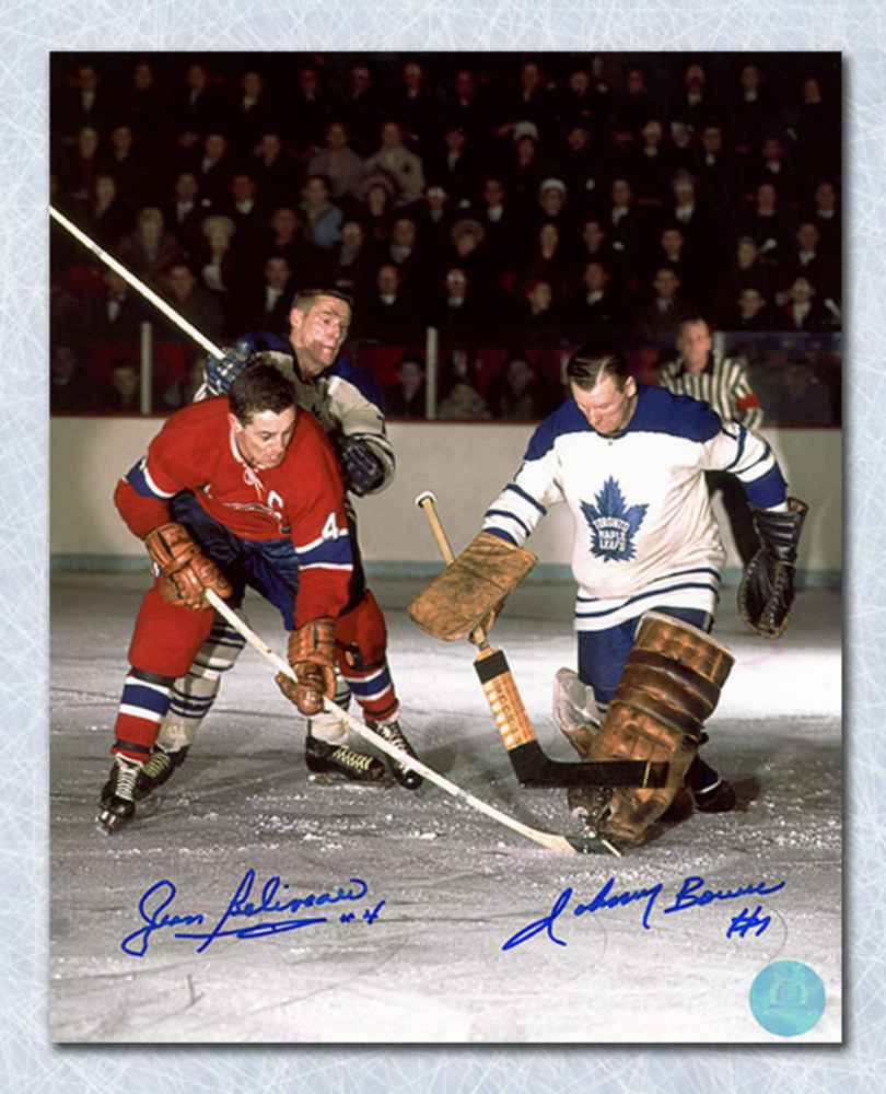 Jean Beliveau vs Johnny Bower Dual Signed Canadiens & Maple Leafs 8x10 Photo