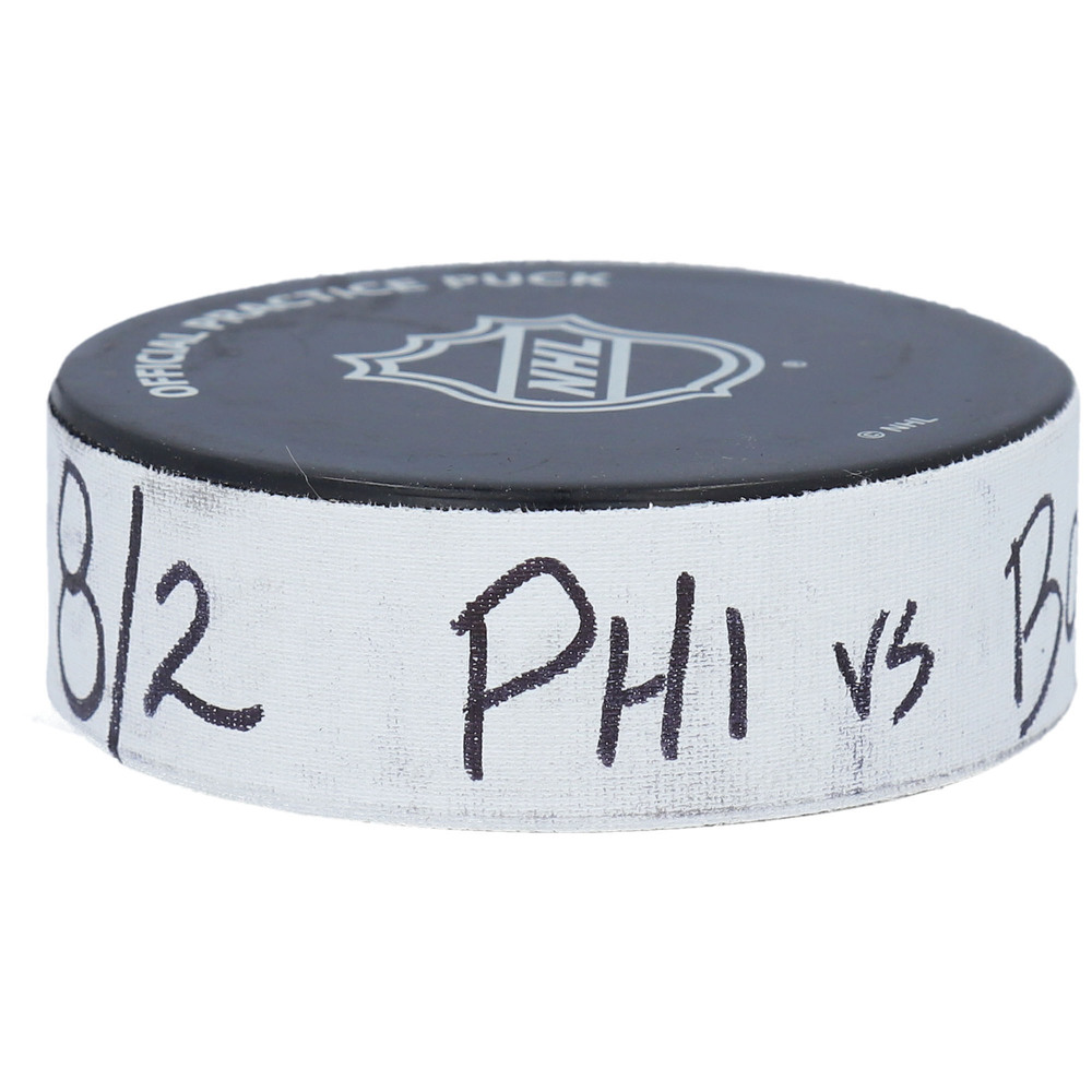 Boston Bruins vs. Philadelphia Flyers Practice-Used Puck from 2020 Stanley Cup Playoffs Round Robin Game on August 2, 2020 - Used During Pregame Warm-Ups