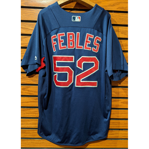 Photo of Coach Carlos Febles #52 Team Issued Blue Batting Practice Jersey