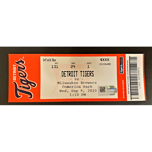 Photo of 9/09/20 - Detroit Tigers vs Milwaukee Brewers Comerica Park Home Game #21 Limited Edition Full Game Ticket - Daz Cameron Major League Debut (MLB AUTHENTICATED)