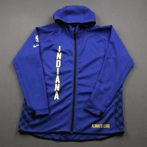 Image of T.J. McConnell - Indiana Pacers - Game-Issued Earned Edition Game Theater Jacket  - 2019-20 NBA Season