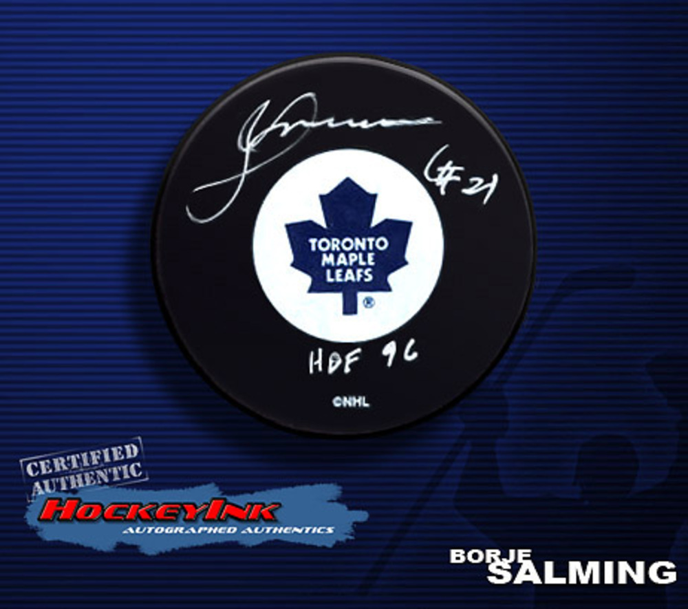 BORJE SALMING Signed Toronto Maple Leafs Hockey Puck