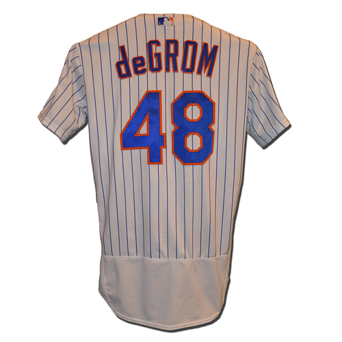 Jacob deGrom #48 - Game Used White Pinstripe Jersey - deGrom Earns 8th Win of 2017; 7 IP, 3 H, 1 R, 12 K's - Mets vs. Phillies - 6/30/17