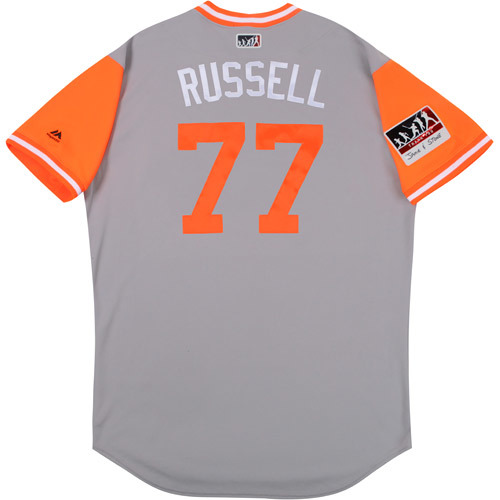"""Photo of John """"Russel"""" Russell Baltimore Orioles 2017 Game-Used Players Weekend Jersey"""