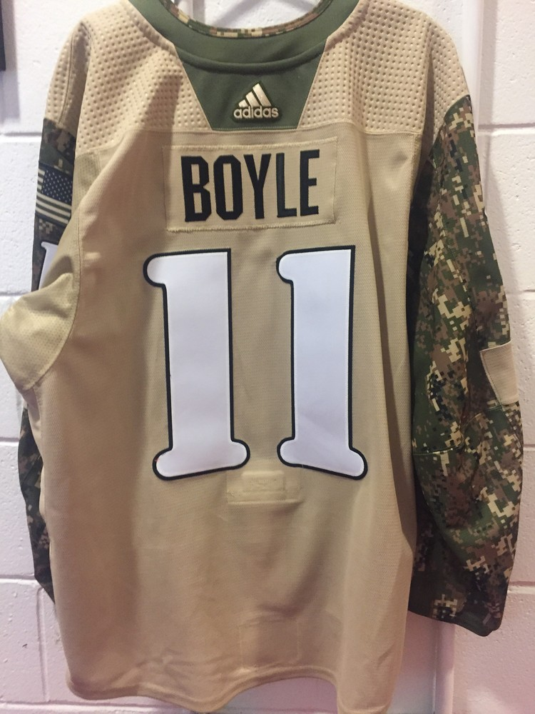 Brian Boyle Military Appreciation Camo Warm-Up Worn Autographed Jersey - New Jersey Devils