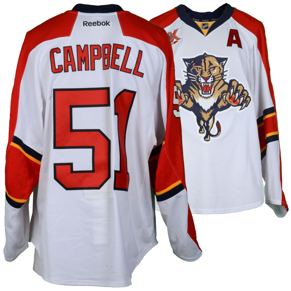 Brian Campbell Florida Panthers Game-Used #51 White Jersey from the 2013-14 NHL Season - Size 58