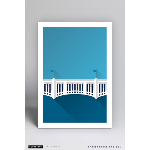 Photo of Yankee Stadium - Minimalist Ballpark Art Print by S. Preston  - New York Yankees