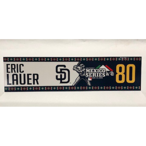 Photo of 2018 Mexico Series - Eric Lauer Game-Used Locker Tag