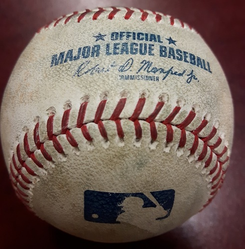 Photo of Authenticated Game Used Baseball - Joey Gallo Single vs Marcus Stroman on April 27, 2018 (Top 6)
